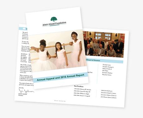 Annual Report design Johns island foundation